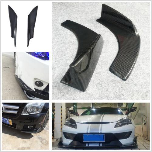 2 Pcs Carbon Fiber Front Bumper Body Splitter Fins + 2pcs Bumper Splitter Shovel