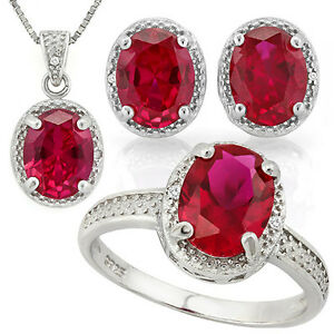 Ruby & Diamond 925 Sterling Silver Necklace, Earrings and Ring