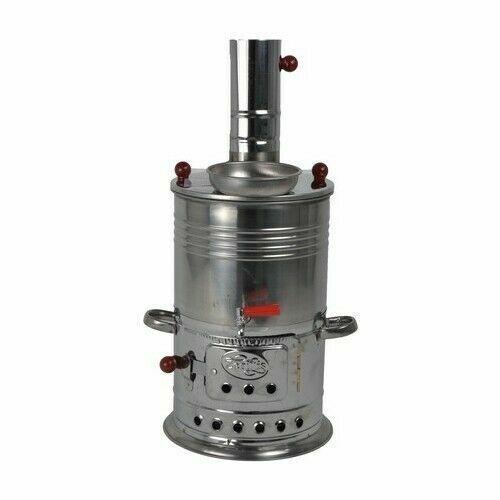 Turkish Chrome plated Steel Samovar/Camp Stove Tea Kettle 1.5L Coal&Wood fuel