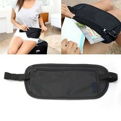 TRAVEL SPORT MONEY WAIST BELT ZIPPED PASSPORT WALLET POUCH SAFE SECURITY BUM BAG