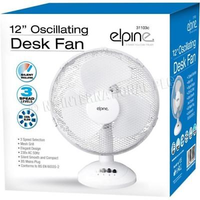 """house hold Fan Cooler 240v mains 12"""" desk stand 3 speed oscillating hydro office"""