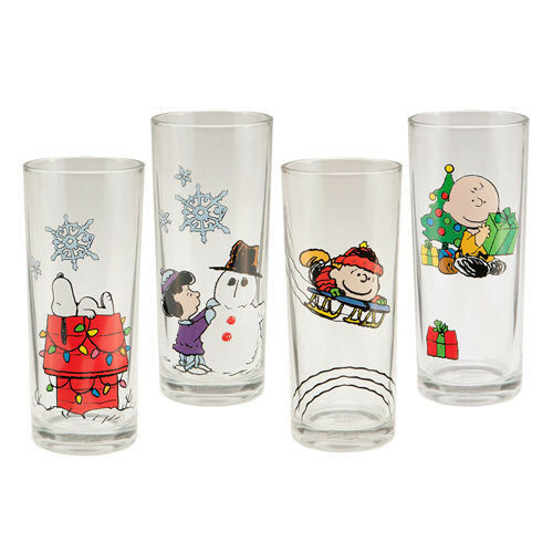 Peanuts Holiday X-Mas 10 oz Glass Set of 4 Charlie Brown Lucy Snoopy Linus NEW
