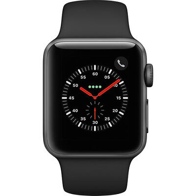 NEW APPLE WATCH SERIES 3 38MM SPACE GRAY CASE SPORT BAND GPS + CELLULAR