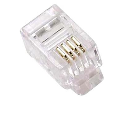 - 50pcs Modular Handset RJ9 Plug GOLD Connector Telephone Phone Jack Crimp, 4P4C