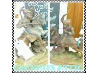 2 Vintage Knights on horseback