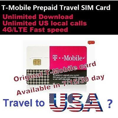 Prepaid T-Mobile 4G sim 30 days 200GB data & Unlimited local call USA Travel  for sale  Shipping to Ireland