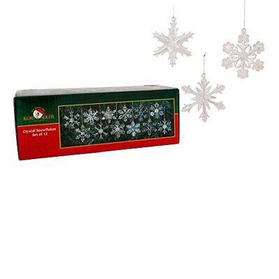 "Kurt Adler 2"" Glass Iridescent Snowflake Ornaments, 12-Piece  Christmas DecorSet"