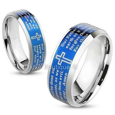Stainless Steel Blue IP Lord's Prayer & Cross Beveled Edge Ring Band Size 5-13