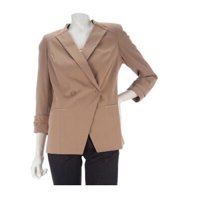 Kris Jenner Kollection 3 4 Sleeve Ruched Cuff Blazer  Taupe  Xl