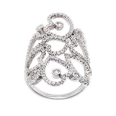 14k Gold Vermeil Wedding Ring (NEW 14K WHITE GOLD VERMEIL Open Lace Heart Style Knuckle CZ Ring-Bridal-925  )