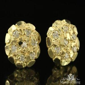 Mens Gold Nugget Earrings