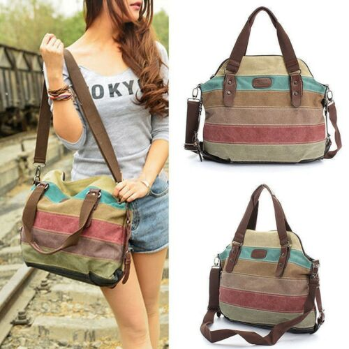 Women Handbag Totes Shoulder Bag Canvas Striped Travel Messe