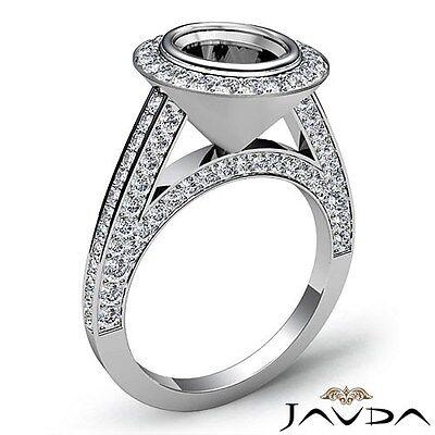 Diamond Engagement 1.7Ct Ring Oval Cut Semi Mount Halo Pave Bezel Set Platinum