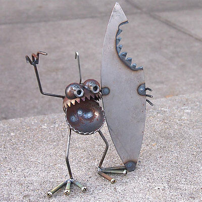 Sugarpost Mini Gnome Be Gone Shark Bite Surfer Outdoor Garden Welded Metal Art