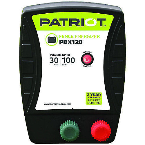 Patriot PBX120 Battery Electric Fence Charger Energizer 1.2 J, 30 mile, 100 acre