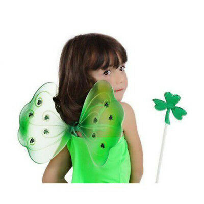 Girls St Patricks Day Green Fairy Wings & Wand Irish Fancy Dress Costume New - Irish Girl Kostüm
