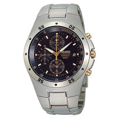Seiko Other Men's 41mm Chronograph Grey Titanium Bracelet & Case Watch SND451