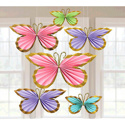 PASTEL GLITTER BUTTERFLY FAN DECORATIONS (6) ~ Birthday Party Supplies Spring - Butterfly Decorations Party
