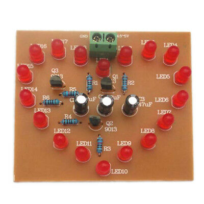 Diy Flash Light Kits 18 Leds Heart-shaped Red Flashing Electronic Parts Giftve