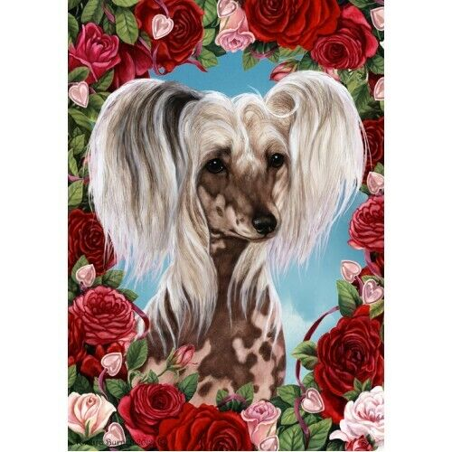 Roses House Flag - Chinese Crested 19069