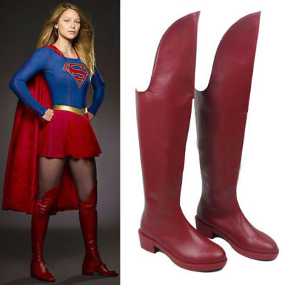 Supergirl Overknee Boots Kara Danvers Cosplay Red Heels Shoes Women Custom F.202 - Red Supergirl Boots