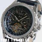 Mens Black Leather Automatic Watch
