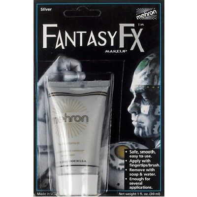 Silver Metallic Mehron Fantasy FX Water Based Paint Body Face Stage Cream Makeup