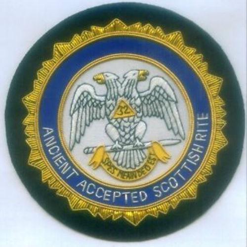 Masonic Masonry Mason Scottish Rite Lodge Bullion Blazer Badge Patch Uniform 33