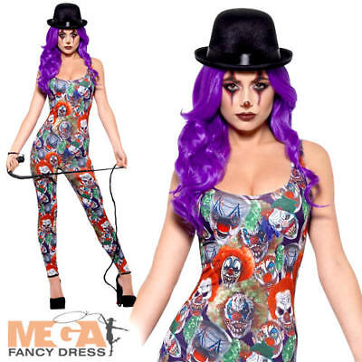 Fever Creepy Clown Ladies Fancy Dress Halloween Circus Womens Adults Costume New - Creepy Carnival Costumes