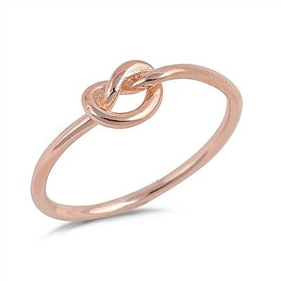 Infinity Knot Love Rose Gold Plated Ring New 925 Sterling Silver Band Sizes 3-12