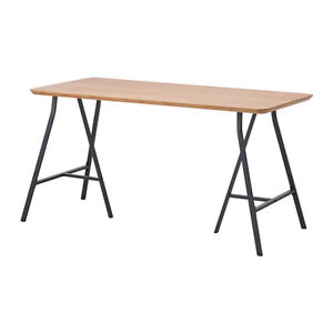 Ikea HILVER / LERBERG Table / desk. Bamboo / metal trestle