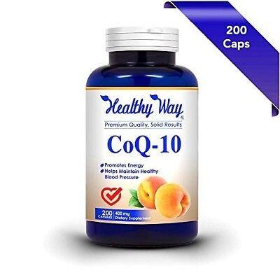 Pure CoQ10 400mg 200 Capsules Max Strength NON-GMO & Gluten