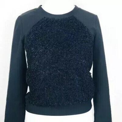 JOVONNA London Black Top Blouse Unusual Sheepskin Fur Size 10 (S1)
