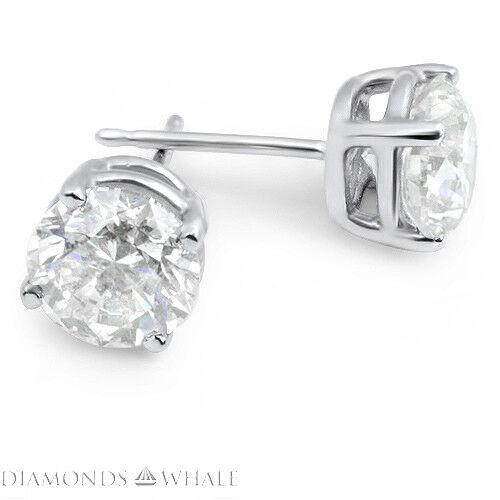 18k White Gold Round Stud Diamond Earrings 1.6 Ct Vs1/d Wedding Enhanced