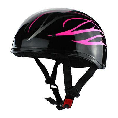 Half Shell Motorcycle DOT Helmet Gloss Black Pink Flames Pink Flames Half Helmet