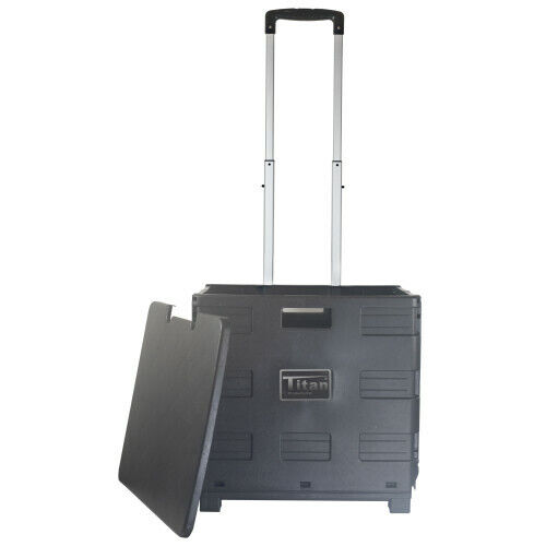 Craig TCC604 Titan Collapsible Storage Cart with Lid and Two Wheels, Black