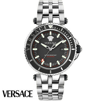 Versace VEAK00318 V-Race Diver black silver Stainless Steel Men's Watch NEW