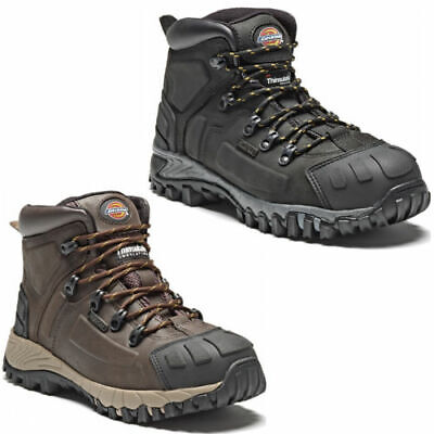 DICKIES MEDWAY | Waterproof Safety Boots Hiker | STEEL TOE | Leather Black/Brown Black Safety Toe Boot