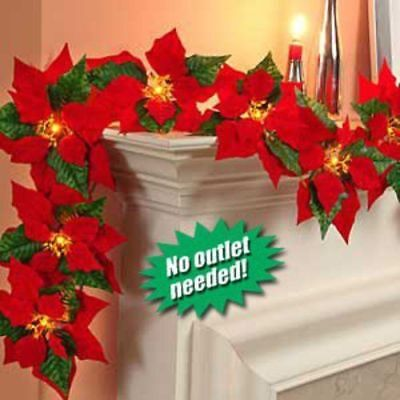 Cordless Lighted Poinsettia Garland - Christmas Holiday Season Cordless Lighted Poinsettia