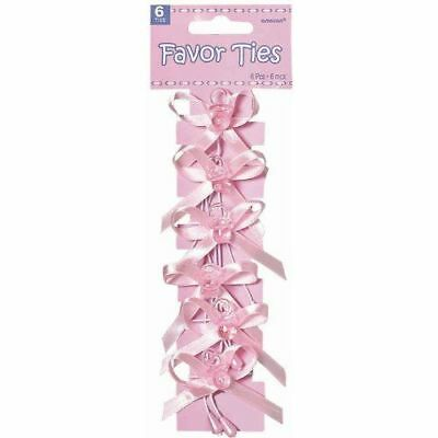 Chic Baby Shower Party Pacifier Favor Ribbon Ties Pink Paper 2