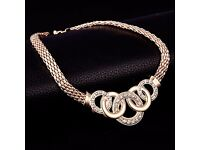 NEW Women's 18K Gold Plated Austrian crystal necklace