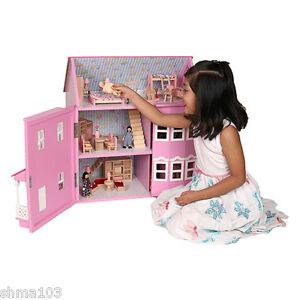 Mamakiddies Victorian Pink Wooden Dolls Doll House w/ 40+ Furniture & 4 Dolls
