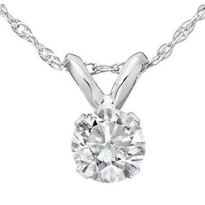 1/3ct Round Solitaire 14k White Gold Diamond Pendant