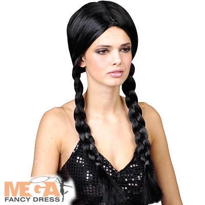 Black School Girl Plaits Wig Halloween Addams Family Ladies Fancy Dress Costume  ()