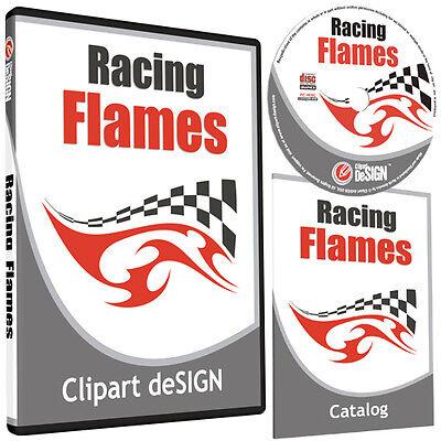 Racing Flames Clipart-vinyl Cutter Plotter Images-eps Vector Clip Art Cd