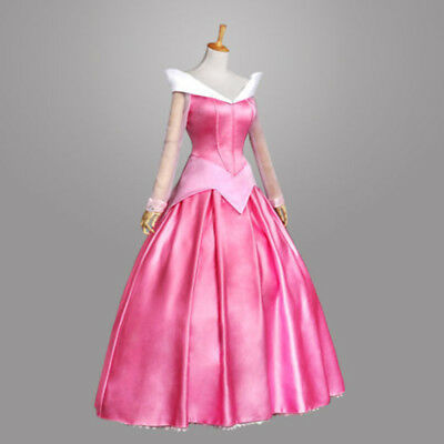 Princess Aurora Adult Costume Sleeping Beauty Pink Dress Sequins Gown - Princess Aurora Costume Adults