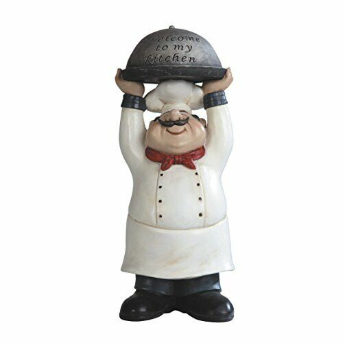 """14"""" Welcome To My Kitchen Chef Decor Statue Collectible Cook Kitchen Figurine"""