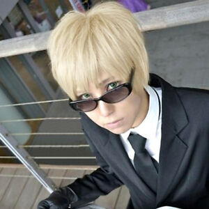 Axis Powers Hetalia England Light Blonde Short Layered Anime Cosplay Hair Wig