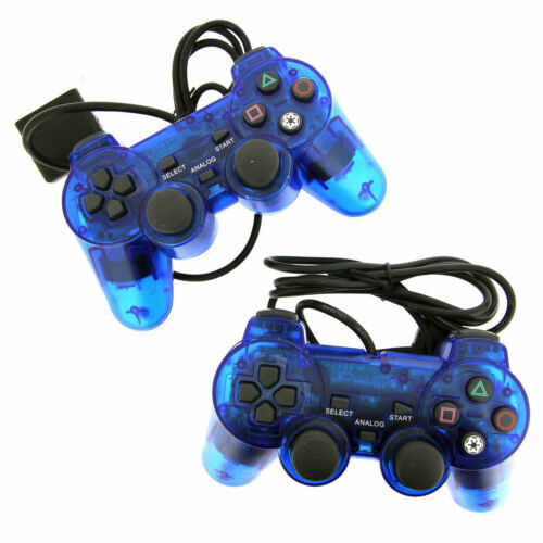 2X Blue Twin Shock Game Controller Joypad Pad for Sony PS2 Playstation 2 Controllers & Attachments