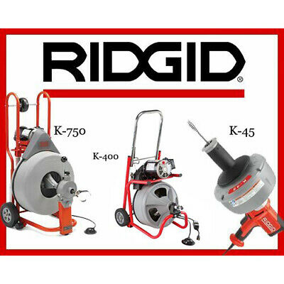 Ridgid K-750 Drum Machine 42007 K-400 T2 Machine 24853 K-45-1 Sink Machine 36013
